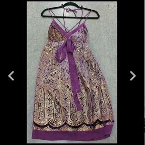 HALE BOB SMALL Purple Gold Silk Dress Boho 70s